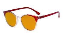Übergroße blaue Schutzbrille für Damen mit Orange getöntem Filterglas zum Schlafen - Große runde Computerbrillen für Damen -Rot-BB98 Gläser DS9002C