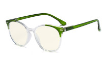 Damen Übergroße Computerbrille - Blaulichtfilter-Lesebrille Damen - UV420-Schutz Große runde Brille Grün-BB40 Gläser UVR9002C