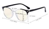 Damen Übergroße Computerbrille - Blaulichtfilter-Lesebrille Damen - UV420-Schutz Große runde Brille Blaue-BB40 Gläser UVR9002C