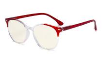 Damen Übergroße Computerbrille - Blaulichtfilter-Lesebrille Damen - UV420-Schutz Große runde Brille Rot-BB40 Gläser UVR9002C