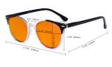 Übergroße blaue Schutzbrille für Damen mit Orange getöntem Filterglas zum Schlafen - Große runde Computerbrillen für Damen -Grün-BB98 Gläser DS9002C