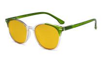 Damen-Übergrößen-Blaulicht-Schutzbrille mit bernsteinfarbener Filtergläser - Große runde Computer-Brille Damen -Grün -BB90 Gläser HP9002C