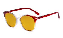 Damen-Übergrößen-Blaulicht-Schutzbrille mit bernsteinfarbener Filtergläser - Große runde Computer-Brille Damen -Rot-BB90 Gläser HP9002C