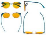 Damen-Übergrößen-Blaulicht-Schutzbrille mit bernsteinfarbener Filtergläser - Große runde Computer-Brille Damen -Blaue -BB90 Gläser HP9002C