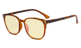 Ladies Blue Light Blocking Computer Glasses with Yellow Filter Lens - Oversized Square Anti Blue Rays Reading Glasses Brown TM9001D