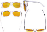 Blue Light Blocking Reading Glasses with Amber Filter Lens - Square Large Lens Computer Readers - Transparent HP080