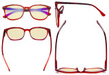 Ladies Blue Light Blocking Computer Glasses with Yellow Filter Lens - Oversized Square Anti Blue Rays Reading Glasses Red TM9001D