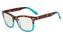 Blue Light Filter Glasses - UV420 Square Large Lens Computer Readers - Tortoise/Blue UVR080D