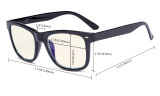 Blue Light Filter Glasses - UV420 Square Large Lens Computer Readers - Transparent UVR080