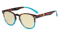 Blue Blocking Glasses with Yellow Filter Lens - Round Computer Reading Glasses Women Blue TM060D