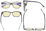 Ladies Blue Light Blocking Computer Glasses with Yellow Filter Lens - Oversized Square Anti Blue Rays Reading Glasses Grey TM9001D