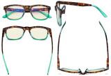 Blue Light Filter Glasses - UV420 Square Large Lens Computer Readers - Tortoise/Green UVR080D