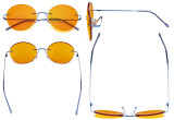 Frameless Blue Light Blocking Glasses with Orange Tinted Lens for Sleeping - Round Rimless Computer Reading Glasses Men Women Blue DSWK9910