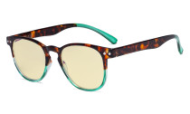 Blue Blocking Glasses with Yellow Filter Lens - Round Computer Reading Glasses Women Green TM060D