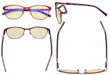 Ladies Blue Light Blocking Glasses with Yellow Filter Lens - Stylish Computer Eyeglasses Women - Red LX19022-BB60