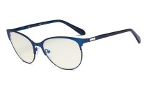 Ladies Blue Light Filter Glasses - UV420 Protection Cateye Computer Eyeglasses - Anti Blue Ray Eyewears Women Blue LX19024-BB40