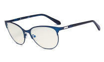 Ladies Blue Light Filter Glasses - UV420 Cateye Computer Eyeglasses - Anti Blue Ray Eyewears Women Blue LX19024-BB40