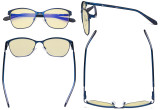 Ladies Blue Light Blocking Glasses with Yellow Filter Lens - Large Cateye Computer Eyeglasses Women - Anti Screen Blue Rays - Blue LX19023-BB60
