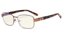 Ladies Blue Light Filter Glasses - UV Computer Eyeglasses Women Acetate Temples with Crystals - Reduce Eye Strain - Brown LX19007-BB40
