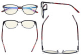 Square Ladies Blue Light Filter Glasses - UV Computer Eyeglasses Women Acetate Temples with Crystals - Black LX19019-BB40