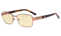 Ladies Blue Light Blocking Glasses with Yellow Filter Lens - Computer Eyeglasses Women Acetate Temples with Crystals - Reduce Eye Strain - Brown LX19007-BB60