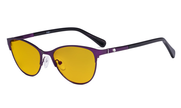 Stylish Ladies Blue Light Blocking Glasses with Amber Filter Lens - Cat-eye Computer Eyeglasses Women Acetate Temples with Crystals - Purple LX19021-BB90