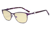 Ladies Blue Light Blocking Glasses with Yellow Filter Lens - Stylish Computer Eyeglasses Women - Purple LX19022-BB60
