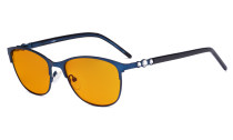 Cat-eye Ladies Blue Light Blocking Glasses with Orange Tinted Filter Lens for Sleeping - Computer Eyeglasses Women Acetate Temples with Crystals - Blue LX19020-BB98