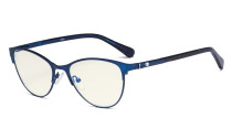 Stylish Ladies Blue Light Filter Glasses - UV Cat-eye Computer Eyeglasses Women Acetate Temples with Crystals - Blue LX19021-BB40