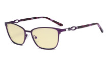 Square Ladies Blue Light Blocking Glasses with Yellow Filter Lens - Computer Eyeglasses Women Acetate Temples with Crystals - Purple LX19019-BB60