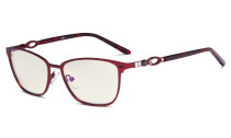 Square Ladies Blue Light Filter Glasses - UV Computer Eyeglasses Women Acetate Temples with Crystals - Red LX19019-BB40