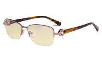 Half-rim Ladies Blue Light Blocking Glasses with Yellow Filter Lens - Computer Eyeglasses Women Acetate Temples with Crystals - Pink LX19008-BB60