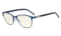 Cat-eye Ladies Blue Light Filter Glasses - UV Computer Eyeglasses Women Acetate Temples with Crystals - Blue LX19020-BB40
