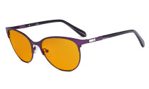 Blue Light Blocking Glasses Women with Orange Tinted Filter Lens for Sleeping - Cateye Computer Eyeglasses - Anti Blue Ray Eyewears Women - Purple LX19024-BB98