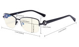 Half-rim Ladies Blue Light Filter Glasses - UV Computer Eyeglasses Women Acetate Temples with Crystals - Black LX19008-BB40