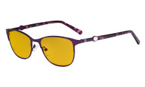 Ladies Blue Light Blocking Glasses with Amber Filter Lens - Stylish Computer Eyeglasses Women - Purple LX19022-BB90
