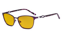 Square Ladies Blue Light Blocking Glasses with Amber Filter Lens - Computer Eyeglasses Women Acetate Temples with Crystals - Purple LX19019-BB90