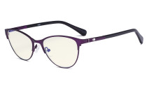 Stylish Ladies Blue Light Filter Glasses - UV Cat-eye Computer Eyeglasses Women Acetate Temples with Crystals - Purple LX19021-BB40