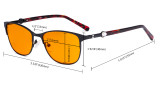 Ladies Blue Light Blocking Glasses with Orange Tinted Filter Lens for Sleeping - Stylish Cateye Computer Eyeglasses Women - Red LX19022-BB98