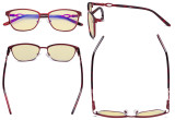 Square Ladies Blue Light Blocking Glasses with Yellow Filter Lens - Computer Eyeglasses Women Acetate Temples with Crystals - Red LX19019-BB60
