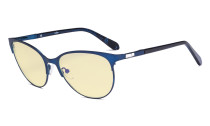 Ladies Blue Light Blocking Glasses with Yellow Filter Lens - Cateye Computer Eyeglasses - Anti Blue Ray Eyewears Women - Blue LX19024-BB60