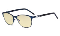 Cat-eye Ladies Blue Light Blocking Glasses with Yellow Filter Lens - Computer Eyeglasses Women Acetate Temples with Crystals - Blue LX19020-BB60
