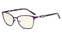 Square Ladies Blue Light Filter Glasses - UV Computer Eyeglasses Women Acetate Temples with Crystals - Purple LX19019-BB40