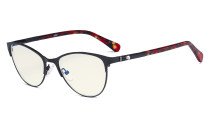 Stylish Ladies Blue Light Filter Glasses - UV Cat-eye Computer Eyeglasses Women Acetate Temples with Crystals - Black LX19021-BB40