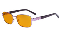 Ladies Blue Light Blocking Glasses with Orange Tinted Filter Lens for Sleeping - Computer Eyeglasses Women Acetate Temples with Crystals - Reduce Eye Strain - Purple LX19007-BB98