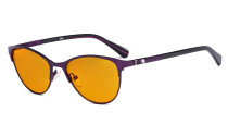 Stylish Ladies Blue Light Blocking Glasses with Orange Tinted Filter Lens for Sleeping - Cat-eye Computer Eyeglasses Women Acetate Temples with Crystals - Purple LX19021-BB98