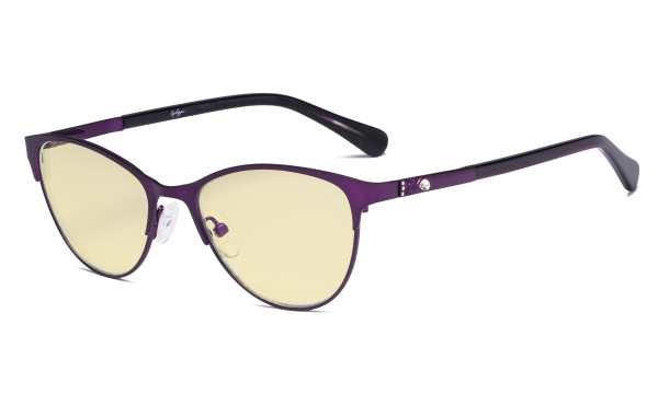 Stylish Ladies Blue Light Blocking Glasses with Yellow Filter Lens - Cat-eye Computer Eyeglasses Women Acetate Temples with Crystals - Purple LX19021-BB60