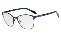 Ladies Blue Light Filter Glasses - UV420 Large Cateye Computer Eyeglasses Women - Anti Screen Blue Rays - Blue LX19023-BB40