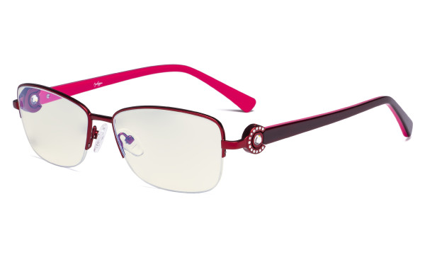 Half-rim Ladies Blue Light Filter Glasses - UV Computer Eyeglasses Women Acetate Temples with Crystals - Red LX19008-BB40
