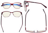 Ladies Blue Light Filter Glasses - UV420 Large Cateye Computer Eyeglasses Women - Anti Screen Blue Rays - Red LX19023-BB40